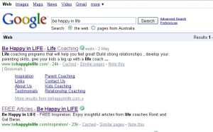"Google AU search for ""be happy in life"""